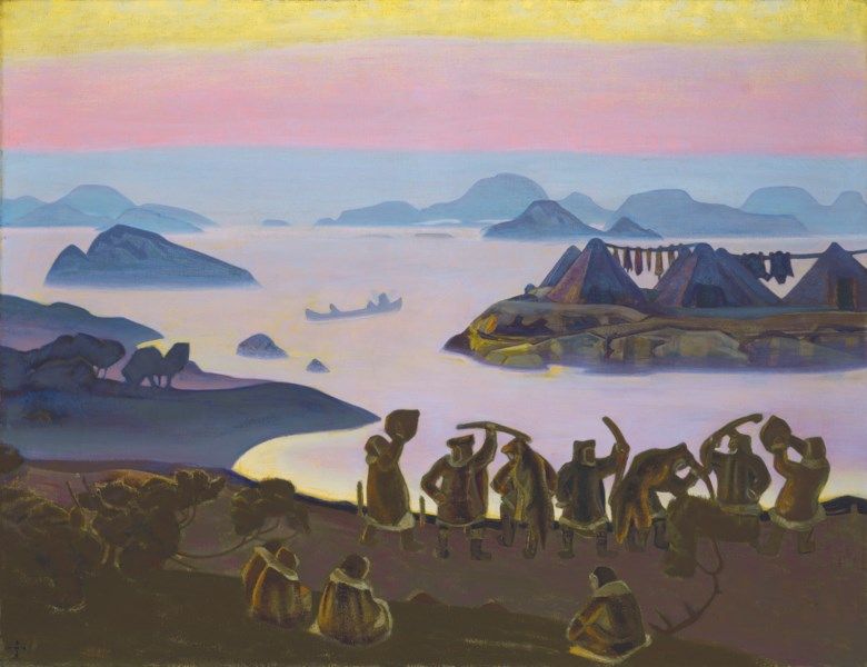 Nicholas Roerich (1874-1947), The Call of the Sun, 1919. Oil and tempera on canvas, 46 x 59⅝  in (116.9 x 151.5  cm). Estimate £1,500,000-2,000,000. Offered in Important Russian Art on 25 November 2019 at Christie's in London