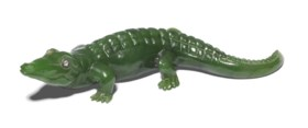 A JEWELLED NEPHRITE MODEL OF A CROCODILE