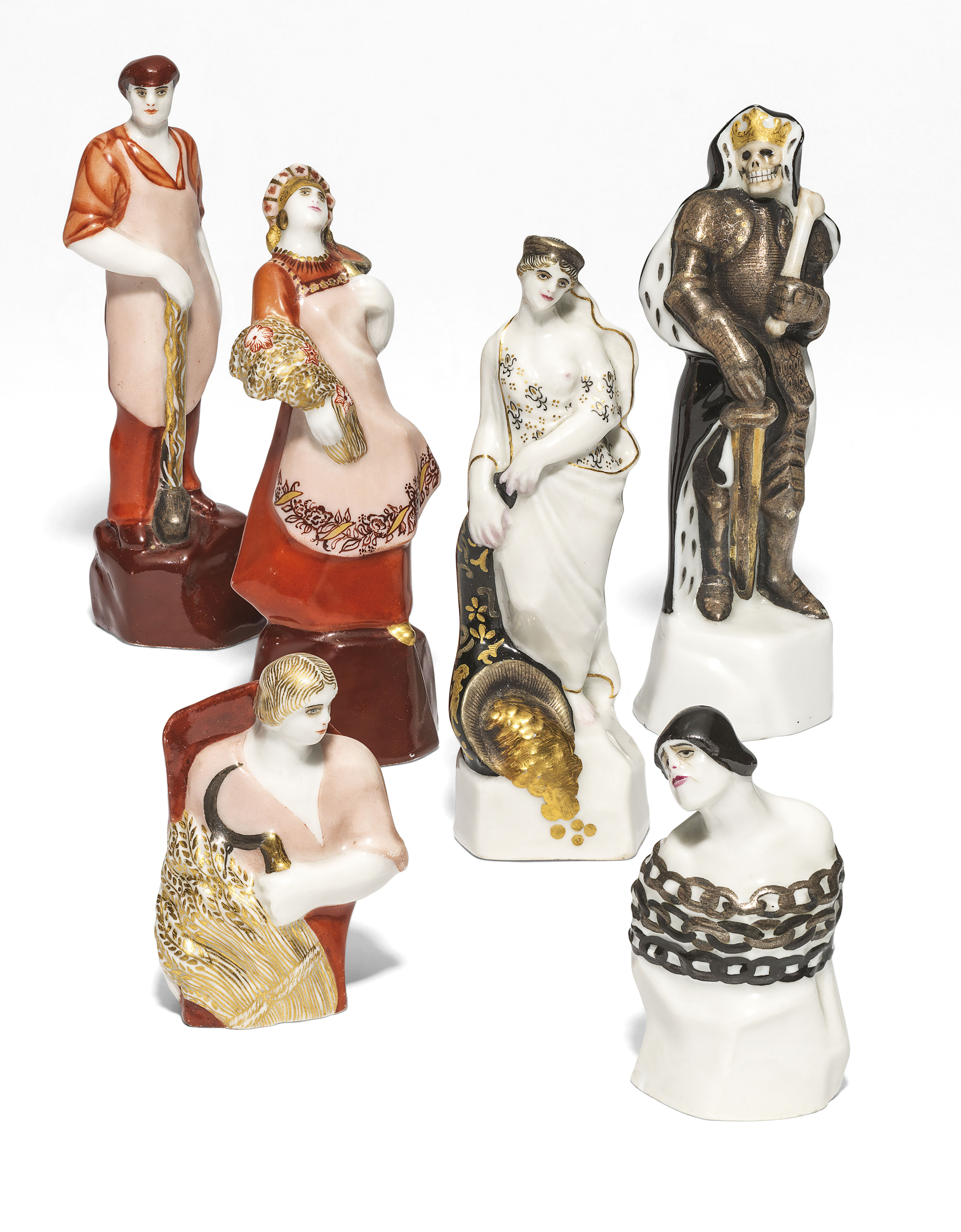 A RARE SOVIET PORCELAIN CHESS SET 'THE REDS AND THE WHITES'