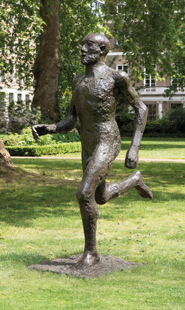 Dame Elisabeth Frink, R.A. (1930-1993), Running Man (Front Runner), 1986. Bronze with a green and brown patina, 77  in (195.6  cm) high. Sold for £1,091,250 on 17 June 2019 at Christie's in London