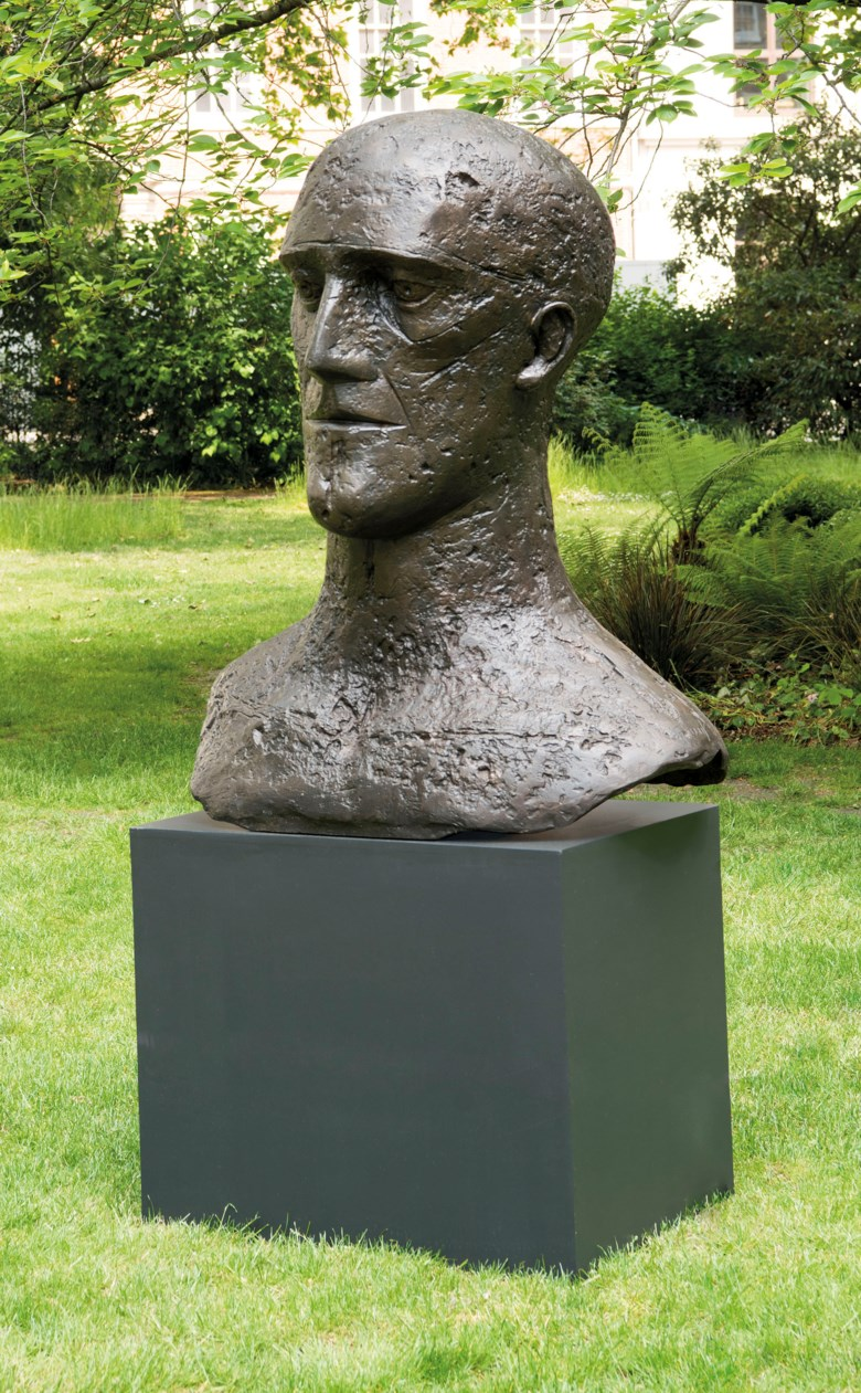 Dame Elisabeth Frink, R.A, In Memoriam I, 1981. Bronze with a brown patina, 50½ in (128.2 cm) high. Sold for £323,250 on 17 June 2019 at Christie's in London