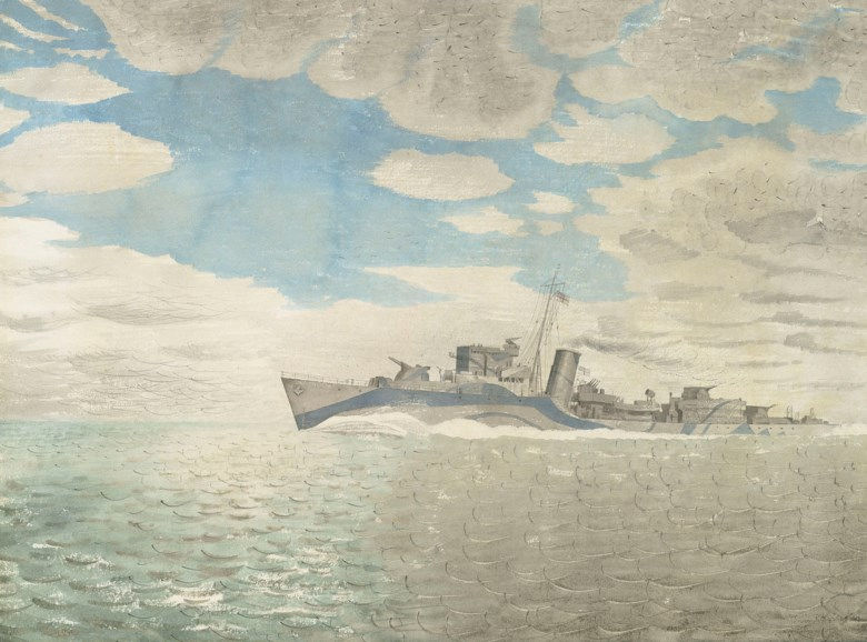 Eric Ravilious (1903-1942), HMS Tetcott, 1941. Pencil and watercolour on paper. Dimensions 16 x 22¼  in (40.6 x 56.5  cm). Estimate £60,000-80,000. Offered in Modern British Art Day Sale on 18 June 2019 at Christie's in London