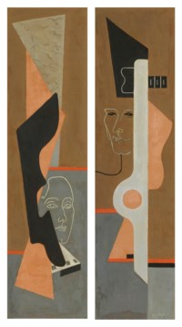 Abstract Masks; diptych