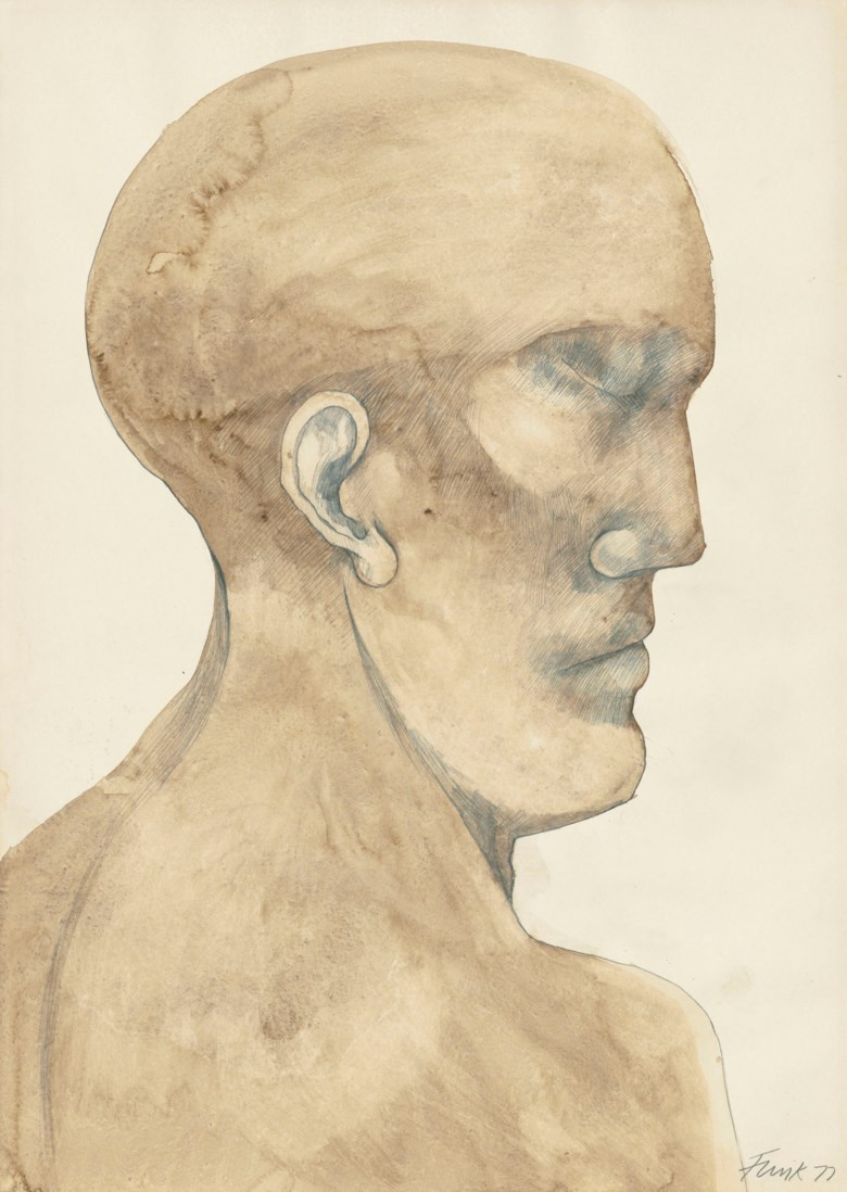 Dame Elisabeth Frink, R.A. (1930-1993), Study of a Man's Head, 1977. Pencil and watercolour on paper, 31⅛ x 22 ¼ in (79.2 x 56.4 cm). Sold for £6,250 on 18 June 2019 at Christie's in London