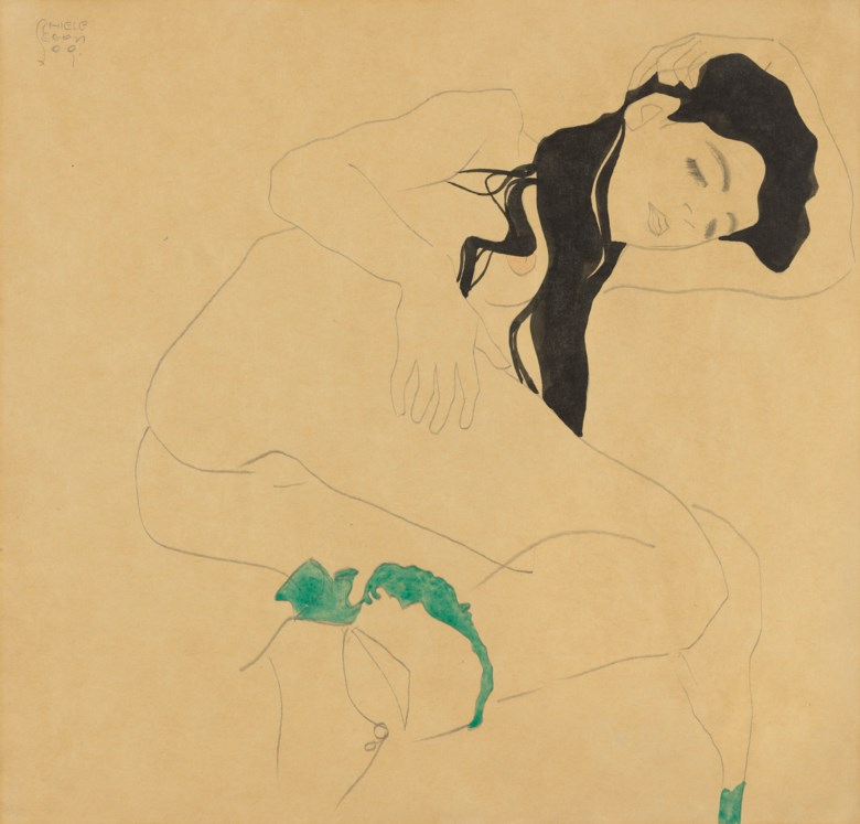 Egon Schiele (1890-1918), Liegender Mädchenakt, executed in 1909. 11⅞ x 12¼  in (30.1 x 31.1  cm). Sold for £1,271,250 on 18 June 2019 at Christie's in London