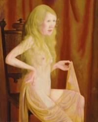 Sitzender Akt mit blondem Haar