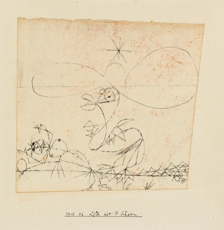 Paul Klee (1879-1940), Leda und d. Schwan (Leda and the Swan), 1913. Artist's mount 9¼ x 8⅞  in (23.4 x 22.4  cm). Estimate £15,000-25,000. Offered in Impressionist and Modern Works on Paper on 19 June 2019 at Christie's in London