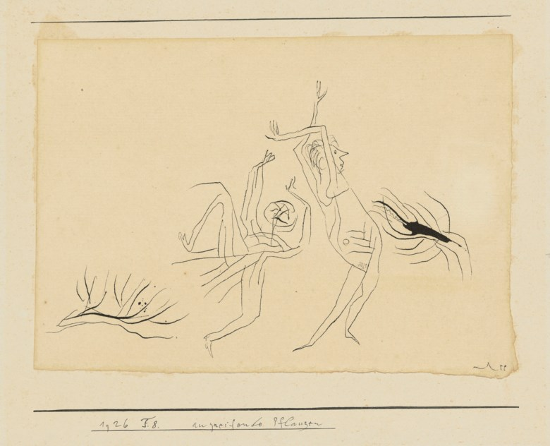 Paul Klee (1879-1940), Angreifende Pflanzen (Attacking Plants), 1926. Pen and ink on paper. Artists mount 7 x 9⅜  in (17.9 x 23.9  cm). Estimate £12,000-18,000. Offered in Impressionist and Modern Works on Paper on 19 June 2019 at Christie's in London