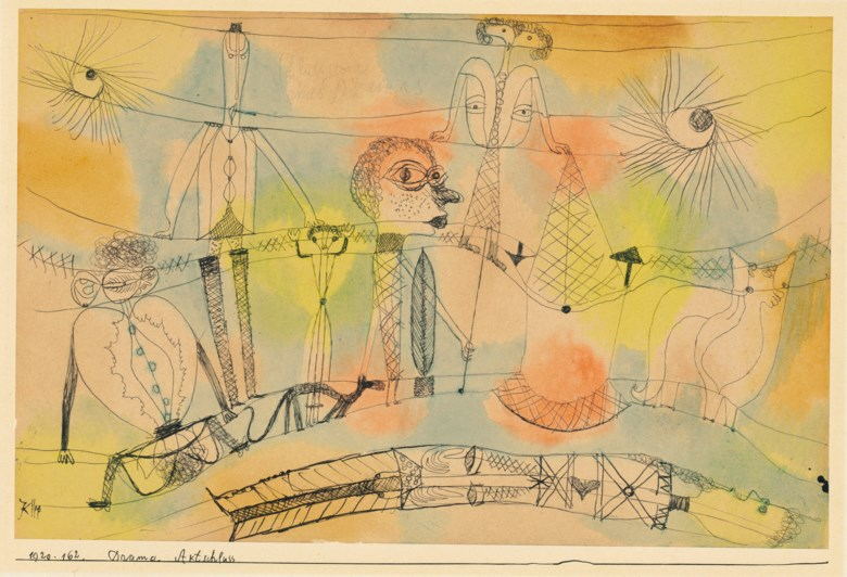 Paul Klee (1879-1940), Drama Aktschluss (Drama, End of Act), 1920. Watercolour. Artist's mount 10⅜ x 13½  in (26.5 x 34.4  cm). Estimate £200,000-300,000. Offered in Impressionist and Modern Works on Paper on 19 June 2019 at Christie's in London