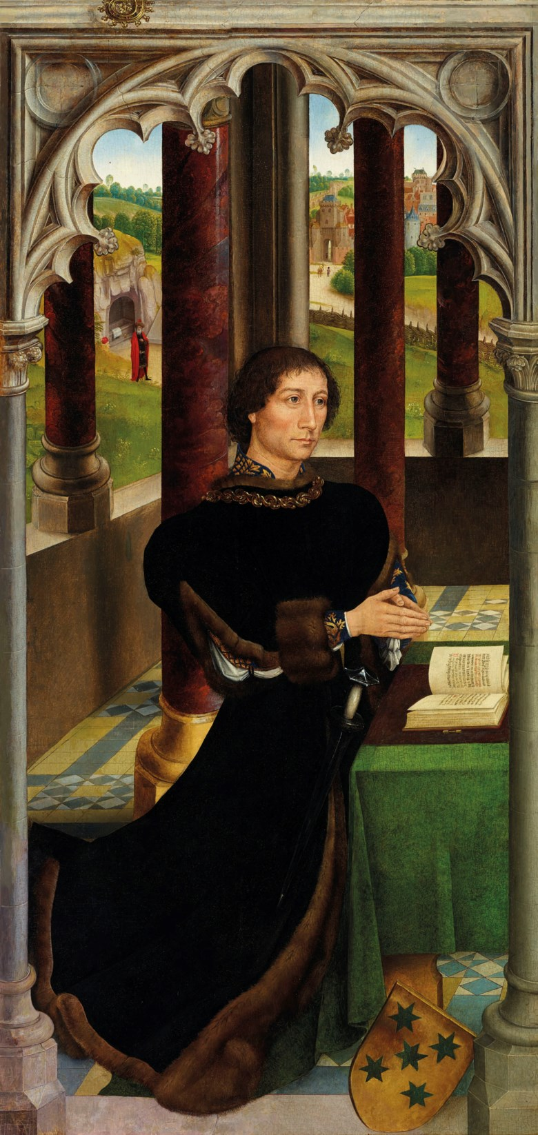 Hans Memling  (near Frankfurt 143040-1494 Bruges), The wing of a triptych Portrait of a member of the De Rojas family, kneeling, full-length. Oil on panel, marouflaged. 41⅝ x 19⅞  in (105.5 x 50.5  cm). Estimate £1,500,000-2,500,000. Offered in Old Masters Evening Sale on 4 July 2019 at Christie's in London