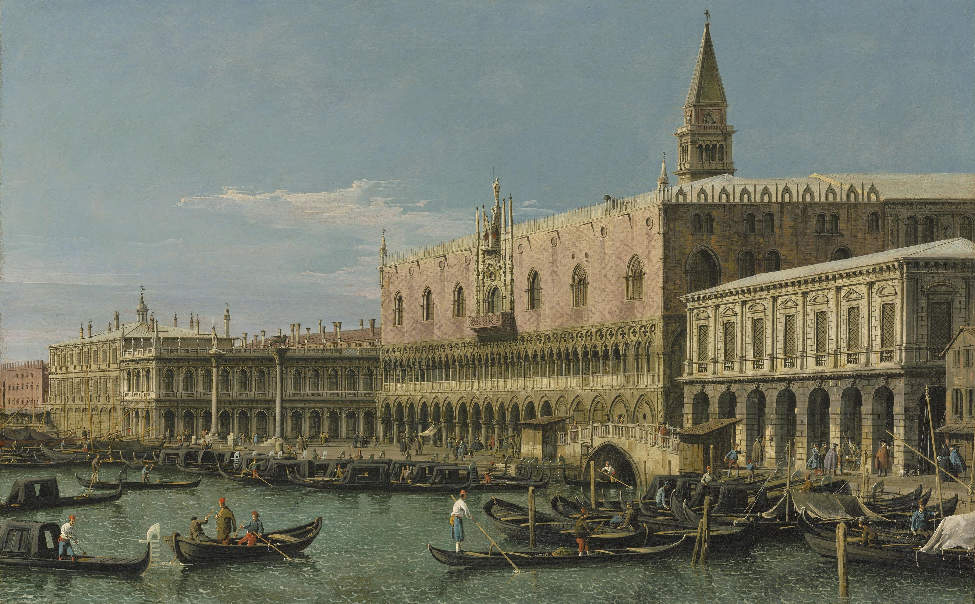 Venecia, el Molo, con el Palacio Ducal, la Piazzetta y la Librería, mirando al oeste.