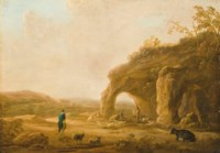 An Italianate landscape with shepherds by a grotto