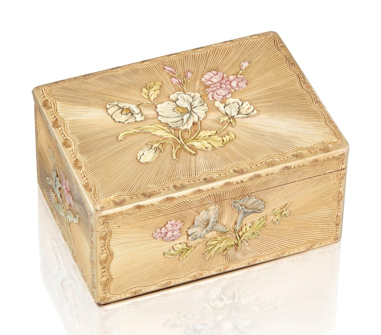 A Louis XV vari-colour gold snuff-box, by Jean Ducrollay (1734-1761), Paris, 17541755. 3⅛  in (80  mm) wide. Estimate £70,000-100,000. Offered in Gold Boxes on 3 July 2019 at Christie's in London