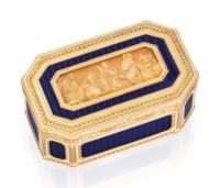 A LOUIS XVI ENAMELLED VARI-COLOUR GOLD SNUFF-BOX