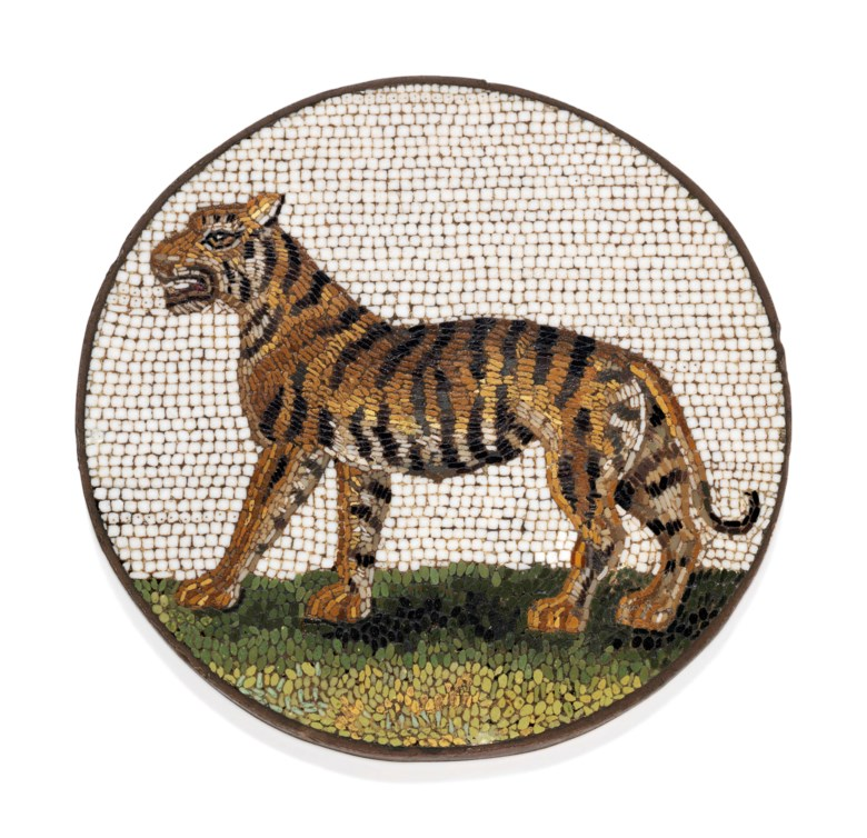 An Italian micromosaic plaque, Rome, circa 1800. 2¼  in (55  mm)  diam. Estimate £3,000-5,000. Offered in Gold Boxes on 3 July 2019 at Christie's in London