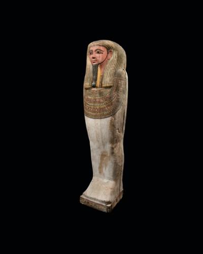 AN EGYPTIAN POLYCHROME WOOD CO