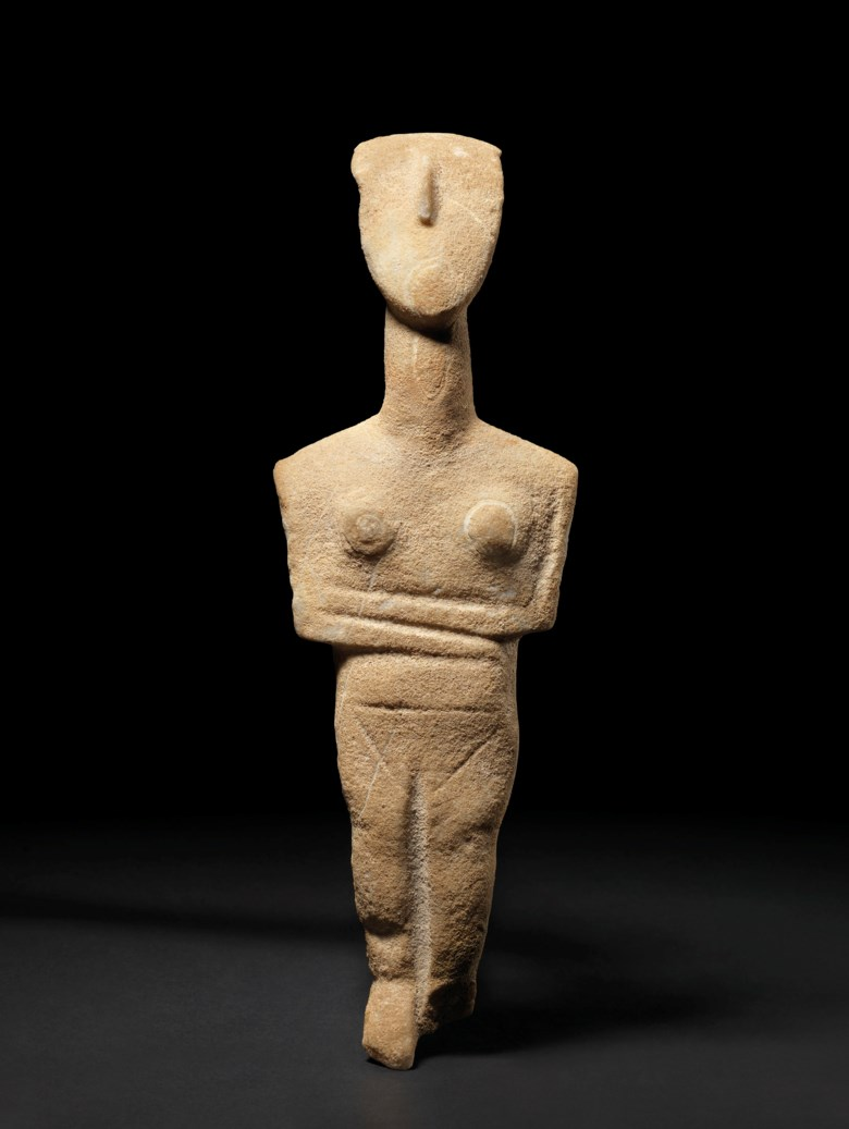 A Cycladic marble female figure, late Spedos variety, early Cycladic II, circa 2500-2400 BC. 11⅜  in (29.1  cm) high. Estimate £250,000-350,000. Offered in Antiquities on 3 July 2019 at Christie's in London