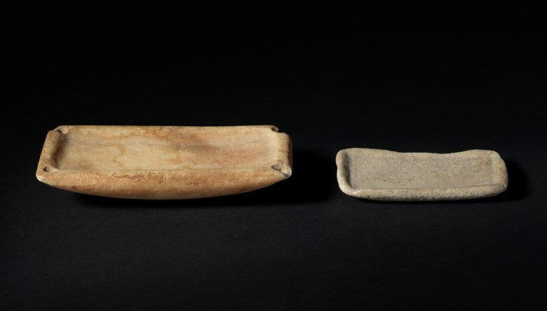 Two Cycladic marble palettes, early Cycladic I, circa 3200-2700 BC. 5⅛ in (13.1  cm) long  max. Estimate £3,000-5,000. Offered in Antiquities on 3 July 2019 at Christie's in London