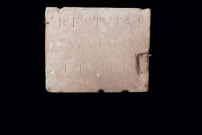 A ROMAN MARBLE FUNERARY PLAQUE