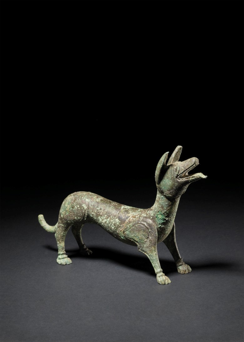 A Romano-British bronze dog, circa 4th century A.D. 5¼  in (13.4 cm) high; 8½  in (21.4 cm) long. Sold for £137,500 on 3 July 2019 at Christie's in London