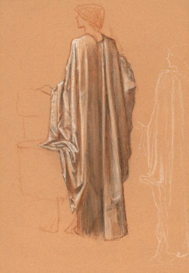 Sir Edward Coley Burne-Jones, Bt., A.R.A., R.W.S. (1833-1898), Study for a draped female figure for The Sleep of Arthur in Avalon, with a subsidiary figure study in a similar pose. 16⅛ x 11¼  in (41.3 x 28.6  cm). Offered in British & European Art Victorian, Pre-Raphaelite & British Impressionist Art on 11 July 2019 at Christie's in London and sold for £10,625