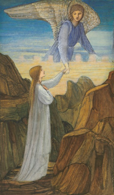 Sir Edward Coley Burne-Jones, Bt., A.R.A., R.W.S. (1833-1898), The Guardian Angel. 17¼ x 10½  in (43.9 x 26.7 cm). Offered in British & European Art Victorian, Pre-Raphaelite & British Impressionist Art on 11 July 2019 at Christie's in London and sold for £106,250