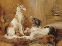 Two Borzois in an Interior sitting on a Bearskin Rug