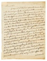 SMITH, Adam (1723-1790). Autograph letter signed ('Adam Smith') to [William Eden, later 1st Baron Auckland], Edinburgh, 9 December 1783.