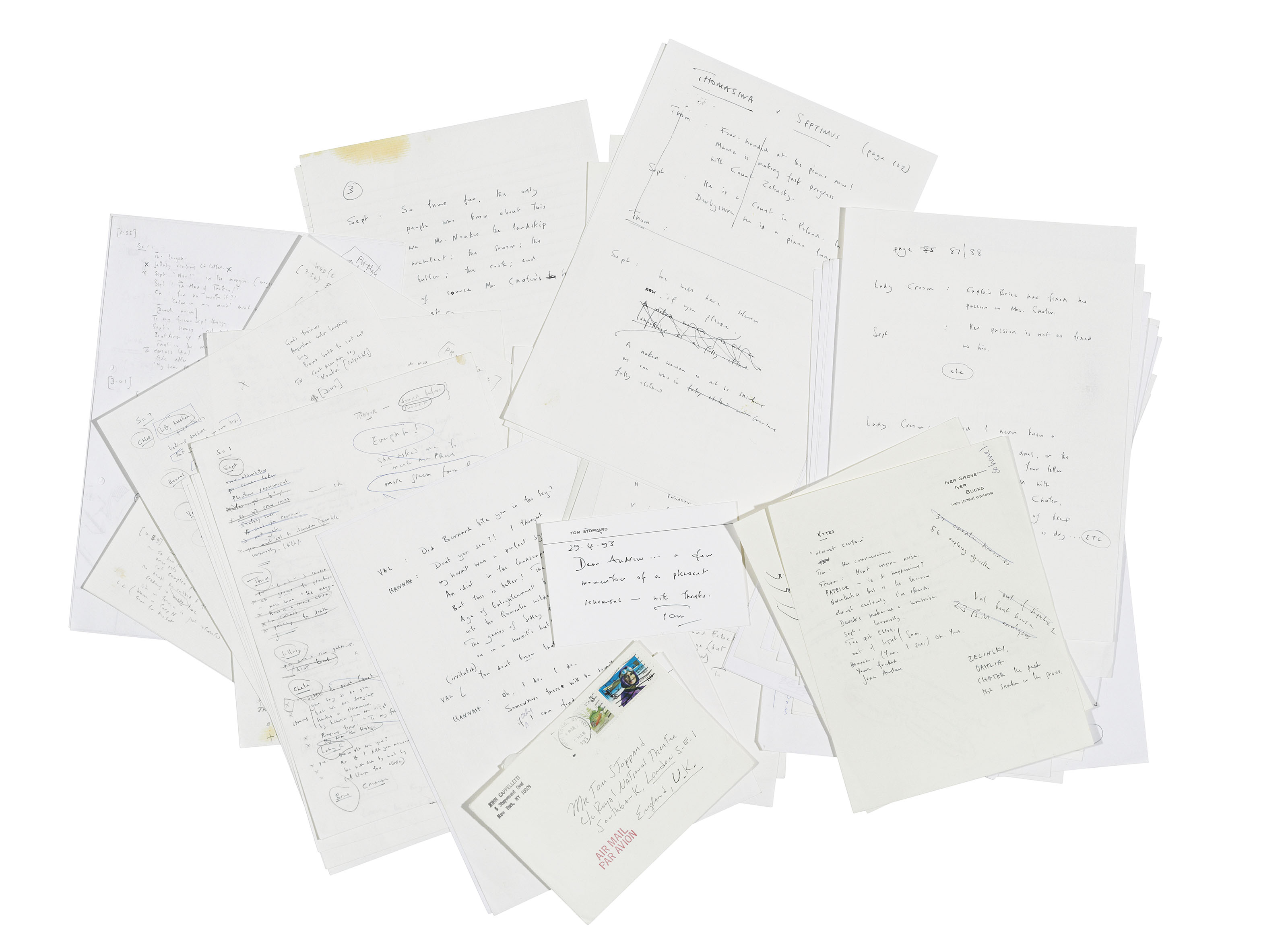 STOPPARD, Tom (b. 1937). Autograph manuscript rehearsal notes for the debut production of Arcadia at the National Theatre, n.p. [National Theatre, London], March 1993.