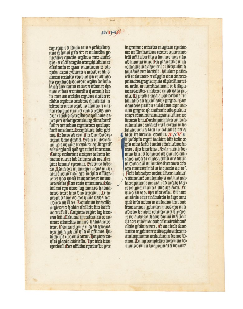 Biblia Latina, Johann Gutenberg and Johann Fust, 1455. Royal folio, 369 x 256mm. Single leaf from the Old Testament containing Jeremiah 2519 to Jeremiah 276, 42 lines. Estimate £25,000-40,000. Offered in Valuable Books and Manuscripts on 10 July 2019 at Christie's in London