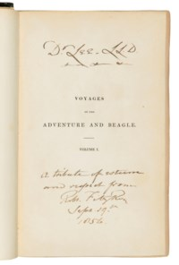 DARWIN, Charles Robert (1809-1882) -— FITZROY, Robert (1805-1865, editor). Narrative of the Surveying Voyages of His Majesty's Ships Adventure and Beagle. London: Henry Colburn, 1839.