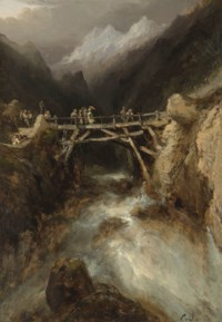 A bridge with travellers crossing a torrent in the Pyrenees