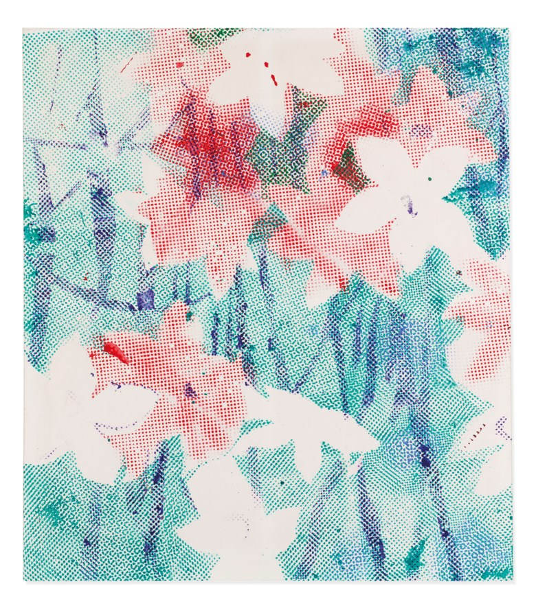 Sigmar Polke (1941-2010), AlpenveilchenFlowers, 1967. 66⅞ x 59 in (170 x 150 cm). Sold for £5,654,250. Offered in Post-War and Contemporary Art Evening Auction on 4 October 2019 at Christie's in London