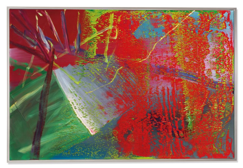 Gerhard Richter (B. 1932), Abstraktes Bild, 1984. 78 ¾ x 118 ¼ in (200 x 300.4 cm). Sold for £7,016,250. Offered in Post-War and Contemporary Art Evening Auction on 4 October 2019 at Christie's in London
