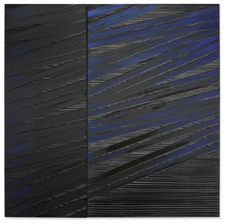 Pierre Soulages (b. 1919), Peinture 222 x 222cm, 15 mai 1987, painted in 1987. Oil on canvas in two parts. Overall 87⅜ x 87⅜ in (222 x 222 cm). Estimate £1,200,000-1,800,000. Offered in Post-War and Contemporary Art Evening Auction on 4 October 2019 at Christie's in London