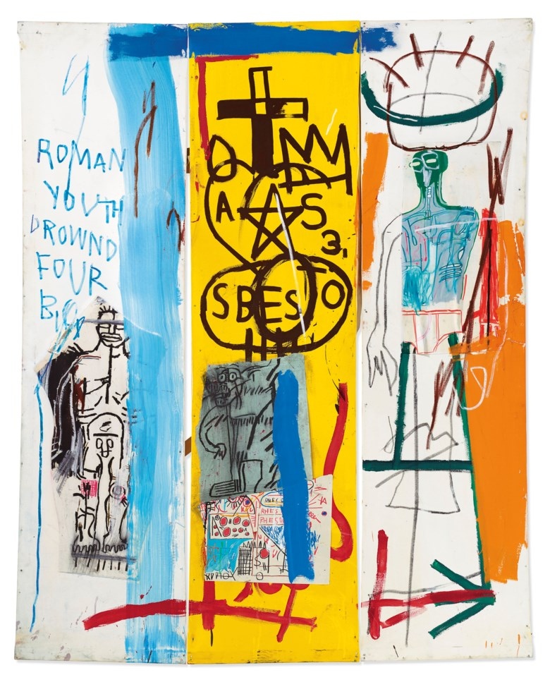 Jean-Michel Basquiat (1960–1988), Four Big, executed in 1982. Overall 78 x 63 in (198.1 x 160 cm). Estimate £7,500,000-9,500,000. Offered in Post-War and Contemporary Art Evening Auction on 4 October 2019 at Christie's in London