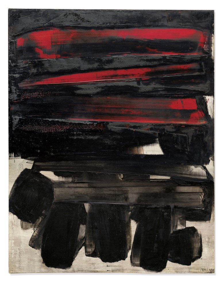 Pierre Soulages (b. 1919), Peinture 146 x 114 cm, 6 mars 1960, painted in 1960. Oil on canvas. 57½ x 44⅞ in (146 x 114 cm). Estimate £4,000,000-6,000,000. Offered in Post-War and Contemporary Art Evening Auction on 4 October 2019 at Christie's in London