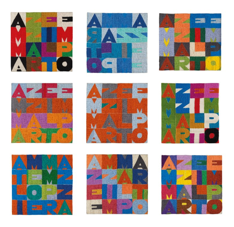 Alighiero Boetti (1940-1994), Ammazzare il tempo, 1978. Embroidery on canvas, in nine parts. Each 11¾ x 11¾ in (30 x 30 cm). Estimate £650,000-850,000. Offered in Thinking Italian on 4 October 2019 at Christie's in London © Alighiero Boetti, DACS 2019