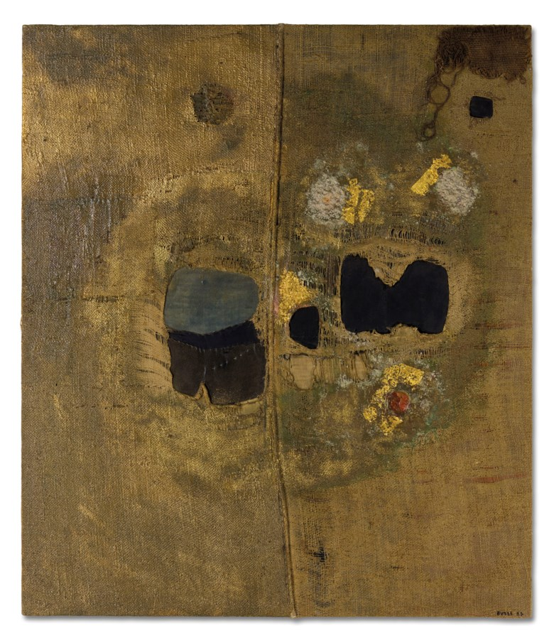 Alberto Burri (1915-1995), Sacco, 1953. 39¼ x 33⅞ in (99.8 x 86 cm). Sold for £4,576,000 on 4 October 2019 in Thinking Italian Evening Auction at Christie's in London