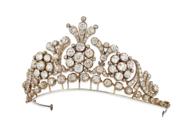 19th-century diamond tiara  necklace. Old-cut cushion shaped diamonds, silver and gold, as a tiara 7.3 cm high, as a necklace 41.4 cm, blue velvet case. Sold for £200,000 on 27 November 2019 at Christie's in London