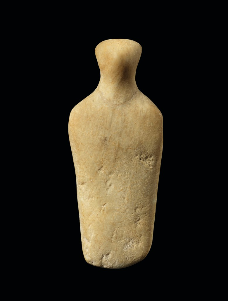 A Cycladic marble abstract schematic idol, Apeiranthos type, early Cycladic II-III, circa 2700-2000 BC.. 5¼  in (13.5  cm) high. Estimate £10,000-15,000. Offered in Antiquities on 4 December 2019 at Christie's in London