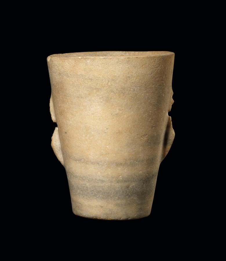 A Cycladic marble beaker, early Cycladic I, circa 3200-2700 BC.. 8⅝  in (21.8  cm) high. Estimate £12,000-15,000. Offered in Antiquities on 4 December 2019 at Christie's in London