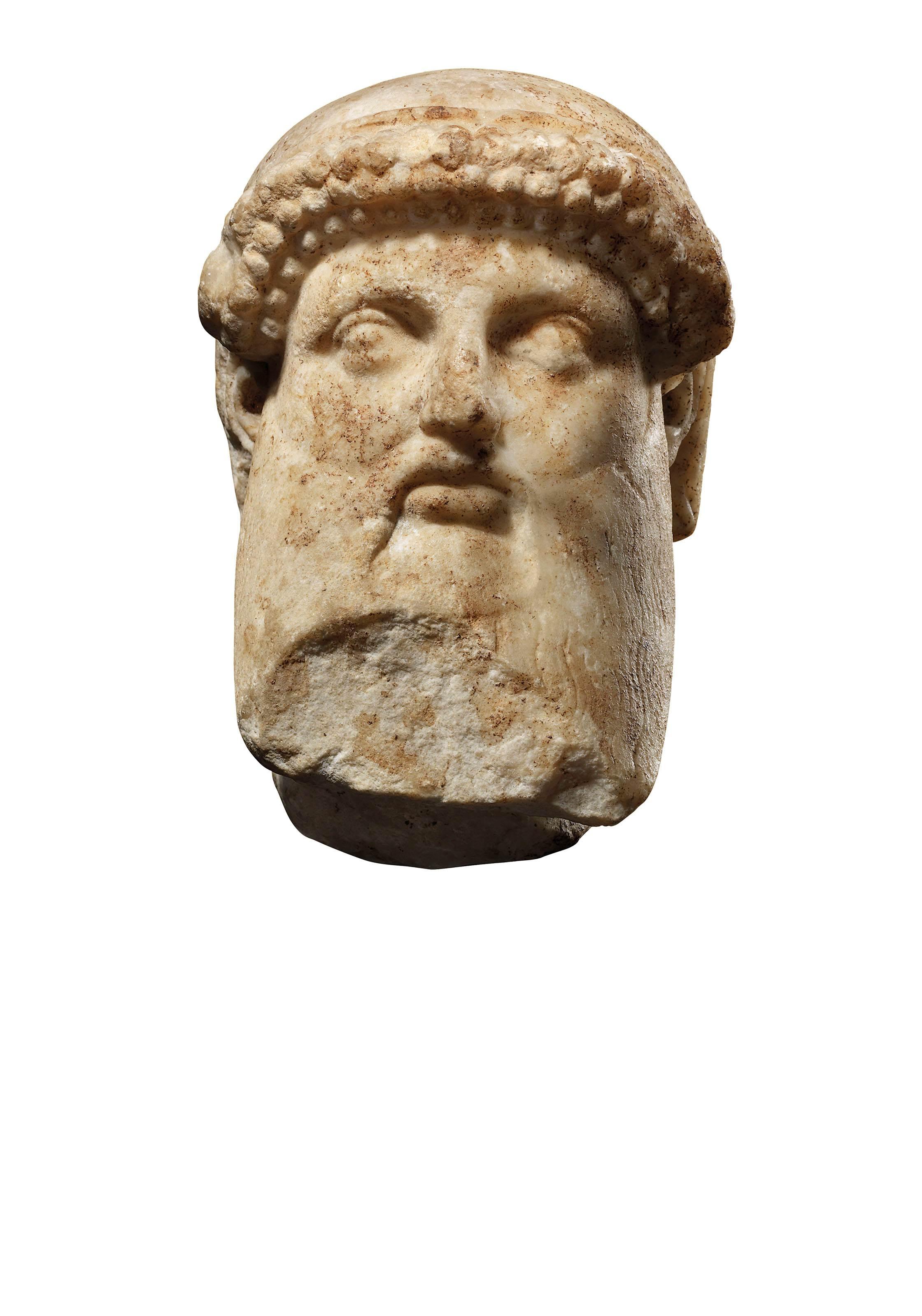 A ROMAN ARCHAISTIC MARBLE HEAD OF HERMES PROPYLAIOS