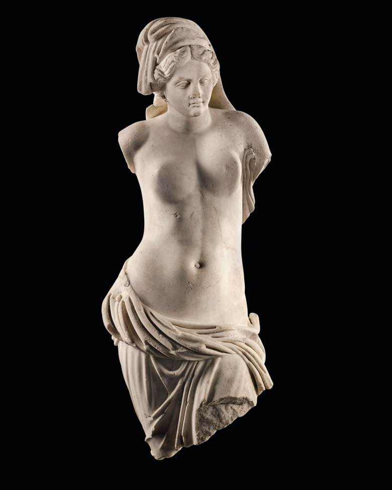 A Roman marble Venus Pontia-Euploia, circa 1st century AD. 35  in (89  cm) high. Estimate £200,000-300,000. Offered in Antiquities on 4 December 2019 at Christie's in London