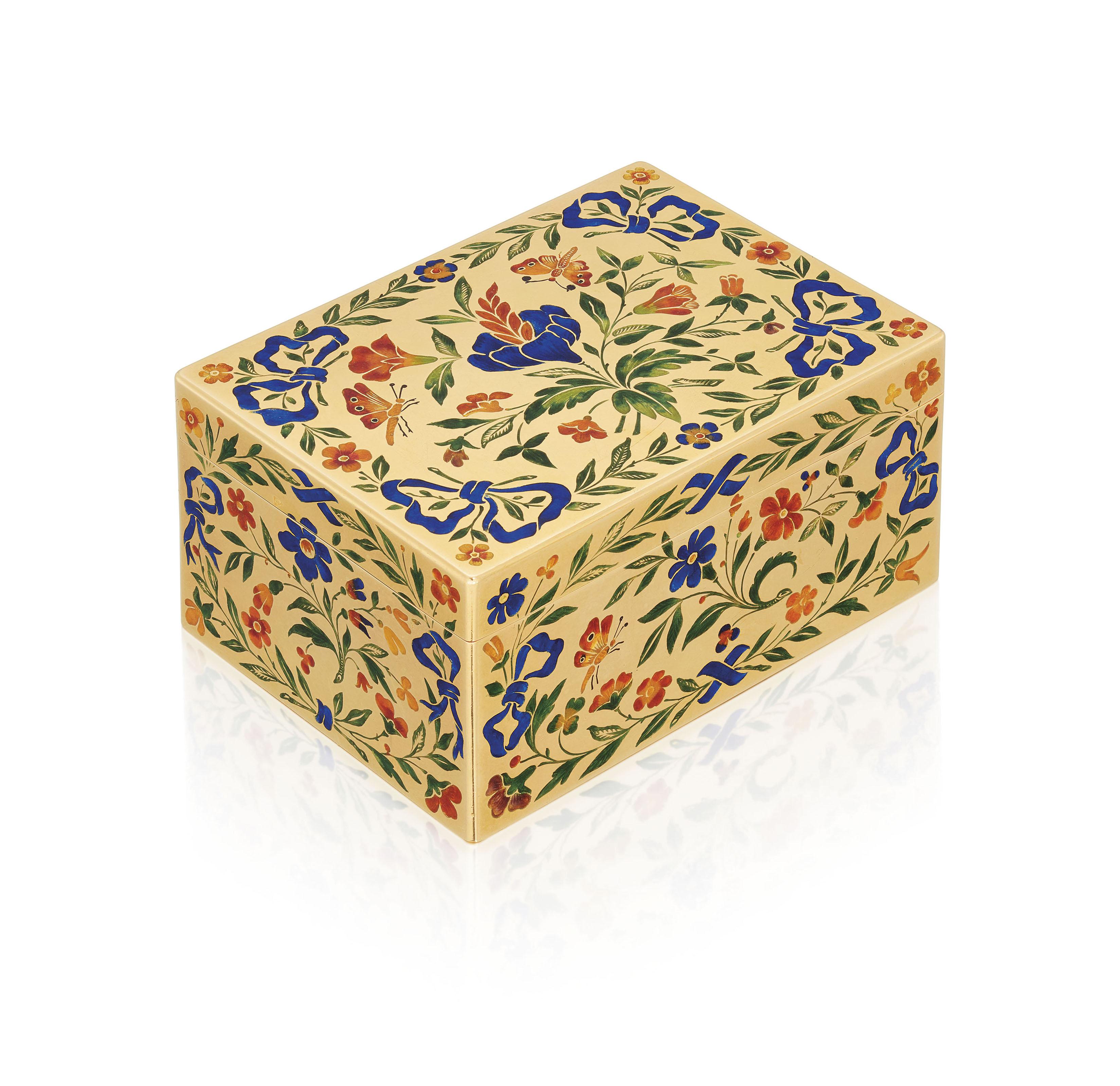 A SWISS OR GERMAN ENAMELLED GOLD SNUFF-BOX