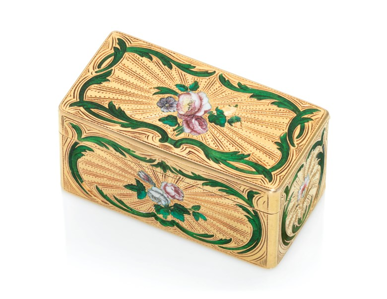A Louis XV enamelled gold snuff-box, by Jean-Jacques Charbonné (fl. 1738-1786), marked, Paris, 17551756, with the charge and decharge marks of Julien Berthe 1750-1756, stamped with inventory number 93. 2¼  in (55  mm) wide. Estimate £15,000-20,000. Offered in Gold Boxes on 5 December 2019 at Christie's in London