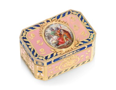 A Louis XVI enamelled gold snuff-box, by Charles Brisson (fl. 1761-1793), marked, Paris, 17801781, with the charge and decharge marks of Henri Clavel 1780-1782, struck with the French post-1838 guarantee mark for gold. 2⅞  in (72  mm) wide. Estimate £40,000-60,000. Offered in Gold Boxes on 5 December 2019 at Christie's in London
