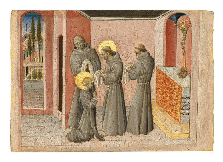 Giovanni di Paolo (Siena c. 1399-1482), The Investiture of Saint Clare the Saint Receiving the Clothes of Her Order from Saint Francis. Tempera and gold on panel. 8⅛ x 11½  in (20.6 x 29.2 cm). Sold for £3,611,250 on 3 December 2019 at Christie's in London