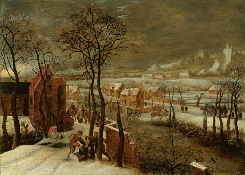 Pieter Brueghel the Younger (c. 1564-1638), Winter landscape. Oil on panel. 15½ x 21½  in (39.4 x 54.6  cm). Estimate £150,000-250,000. Offered in Old Masters Evening Sale on 3 December 2019 at Christie's in London