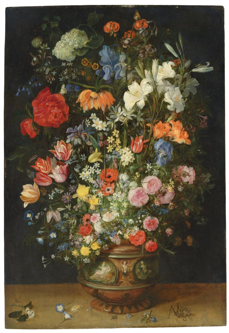 Jan Breughel, the Elder (Brussels 1568-1625 Antwerp), Lilies, tulips, roses and other flowers in an ornamental vase on a ledge, with butterflies and beetles. Oil on panel. 41¾ x 28⅝ in (106.1 x 72.7 cm). Sold for £755,250 on 3 December 2019 at Christie's in London